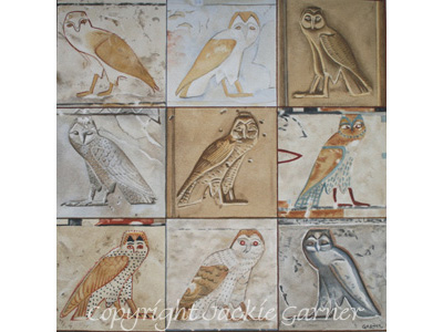watercolour painting of Owls of Ancient Egypt