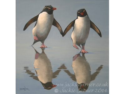 Putting on the Ritz, acrylic painting of rockhopper penguins